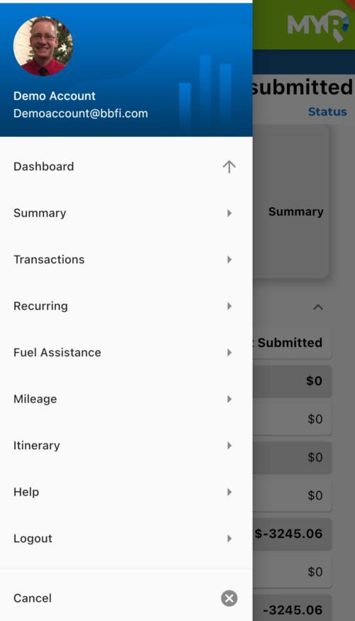 BBFI app dashboard